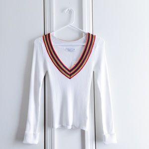 UO Lara Ribbed Knit V-Neck Sweater